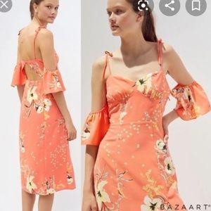 OU Cold Shoulder Flutter Sleeve Dreess